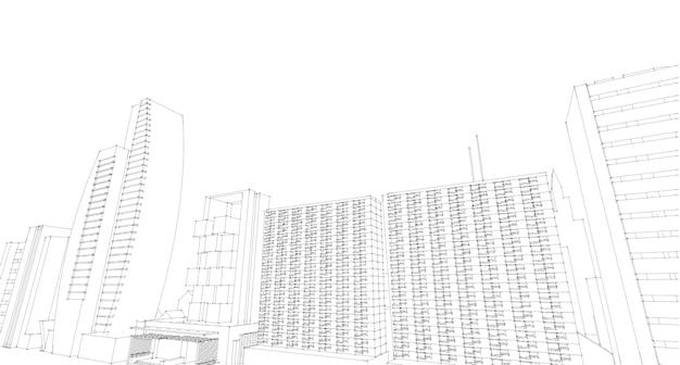 Streszczenie szkic rysunku architektonicznego, ilustracja drawing