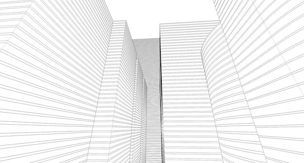Streszczenie szkic rysunku architektonicznego, ilustracja