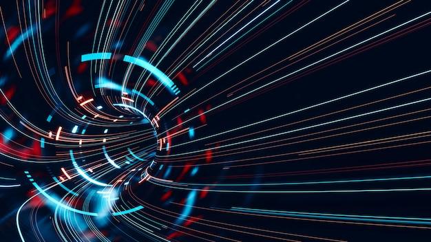 Streszczenie szybko poruszających się linii pasków ze świecącym światłem rozbłysków technologicznych.
