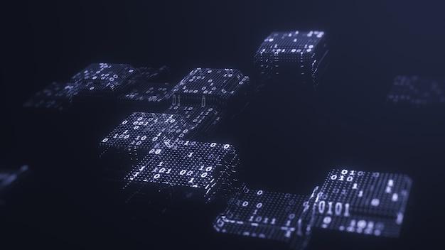 Streszczenie technologia koncepcja dużych danych. big data kod binarny futurystyczna technologia informacyjna, przepływ danych. przesyłanie dużych zbiorów danych i przechowywanie łańcucha bloków, serwera, szybkiego internetu. renderowanie 3d.