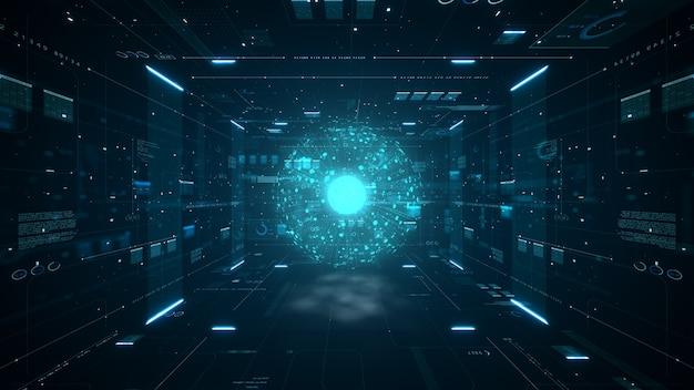 Streszczenie technologia koncepcja dużych danych. grafika ruchu dla abstrakcyjnego centrum danych, przepływu danych. przesyłanie dużych zbiorów danych i przechowywanie łańcucha bloków, serwera, szybkiego internetu. renderowanie 3d.