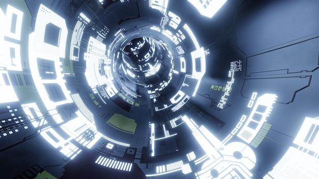Streszczenie technologia tło, futurystyczna technologia renderowania 3d lub sci-fi tunel cyberprzestrzeni. ilustracja 3d.