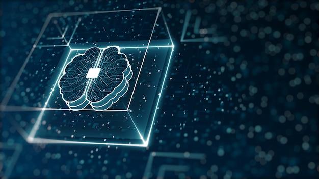 Streszczenie technologii sztucznej inteligencji (ai) cyfrowe dane binarne i koncepcja dużych danych.