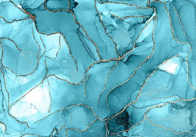 Streszczenie tekstura marmuru tło. projekt papieru do pakowania, tapety. nowoczesna sztuka płynna. wzór tuszu alkoholowego ze złotym pyłem. naturalny luksus abstrakcyjne malarstwo płynne w technice tuszu alkoholowego
