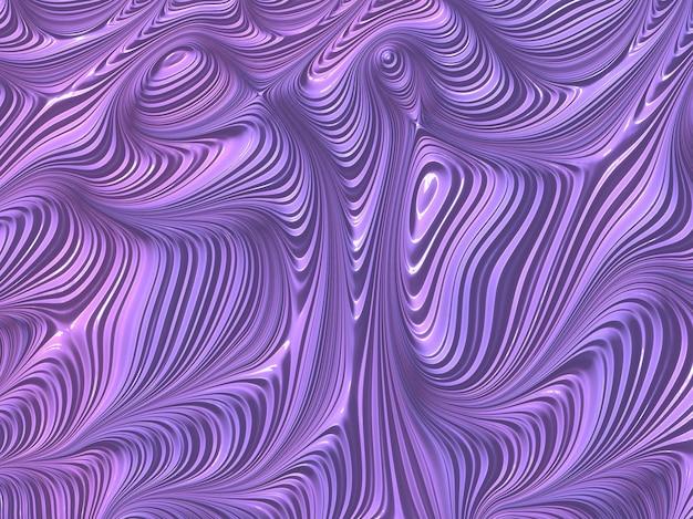 Streszczenie teksturowane fraktali linii w fioletowe i liliowe kolory, 3d render.