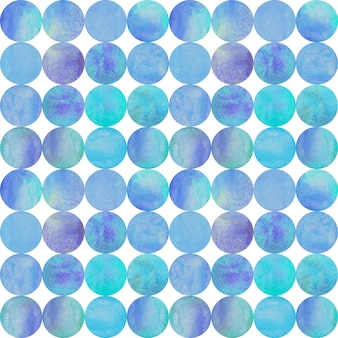 Streszczenie tło akwarela z kolorowe koła na białym. akwarela ręcznie rysowane turkusowy fioletowy niebieski wzór. akwarela tekstury w kształcie okrągłym. druk na tekstylia, tapety, opakowania.