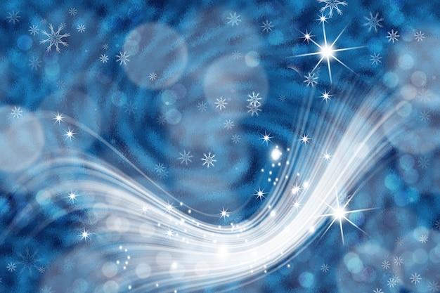 Streszczenie tło bokeh. świąteczne abstrakcyjne niebieskie tło z rozmytym bokeh z gwiazdami i płatkami śniegu