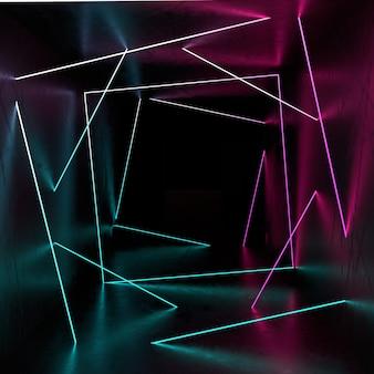Streszczenie tło geometryczne z obracającymi się neonowymi kwadratami