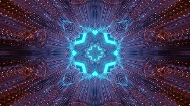 Streszczenie tło kalejdoskop wewnątrz tunelu z migającymi czerwonymi światłami i okrągłą bramą z niebieskimi geometrycznymi kształtami