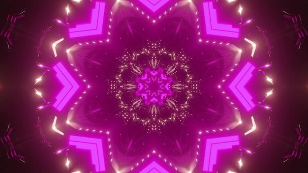 Streszczenie tło kalejdoskopowego korytarza różowego świecącego żywym światłem neonu