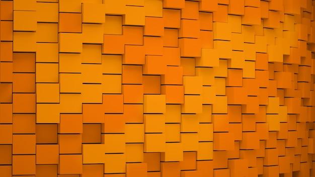 Streszczenie tło kostki pomarańczowy. jesienna ściana. renderowanie 3d.