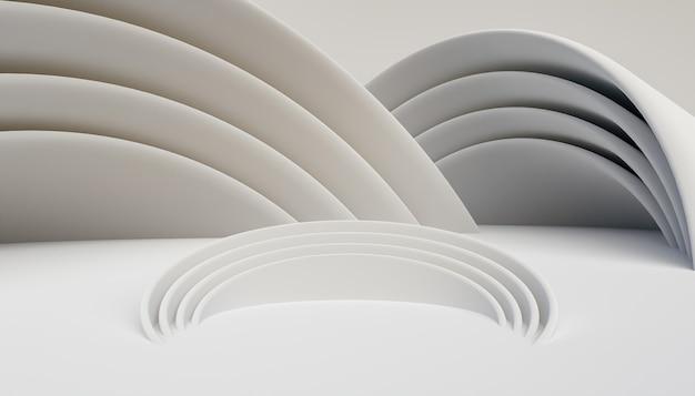 Streszczenie tło kulistych kształtów z centrum do prezentacji produktu. renderowanie 3d