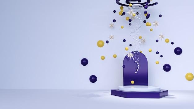 Streszczenie tło, makiety sceny do wyświetlania produktów z kulkami i gwiazdami. renderowanie 3d