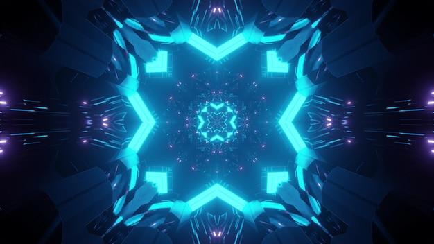 Streszczenie tło niekończącego się symetrycznego tunelu ze świecącymi neonami