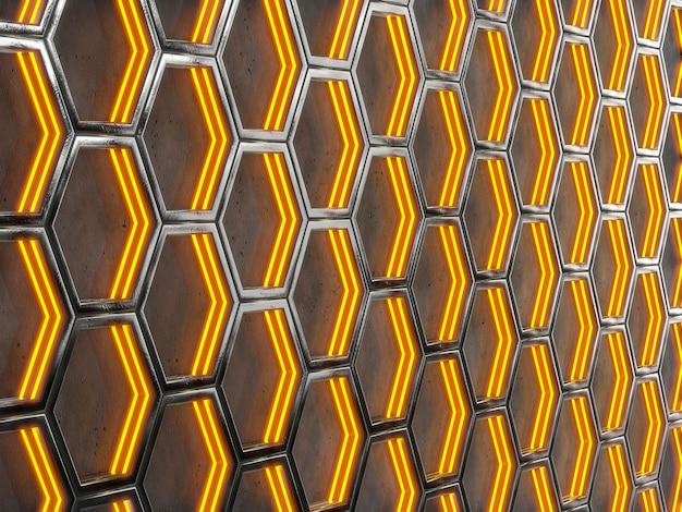 Streszczenie tło o strukturze geometrycznej. tekstura z plastrami miodu. renderowanie 3d.