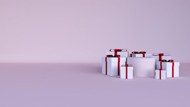 Streszczenie tło, scena do wyświetlania produktu. walentynki, pudełko upominkowe
