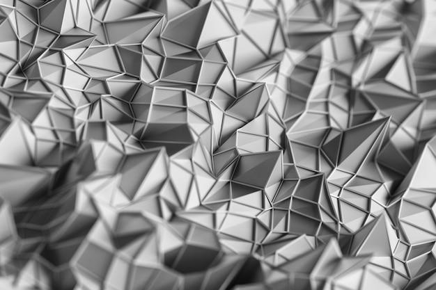 Streszczenie tło szare trzy trójwymiarowe trójkąty.