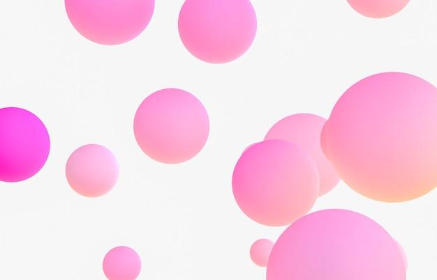 Streszczenie tło sztuki 3d. różowe pływające plamy cieczy, bańki mydlane.