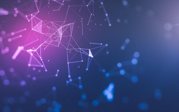 Streszczenie tło, technologia cząsteczek o wielokątnych kształtach, łączenie kropek i linii