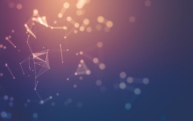 Streszczenie tło technologii cząsteczek o wielokątnych kształtach