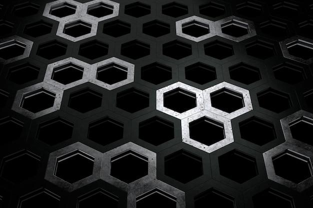 Streszczenie tło w kształcie sześciokąta. renderowanie 3d.