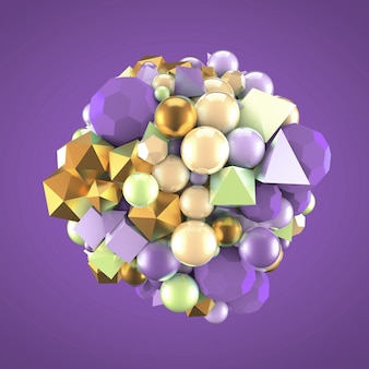 Streszczenie tło z elementami. ilustracja, renderowanie 3d.