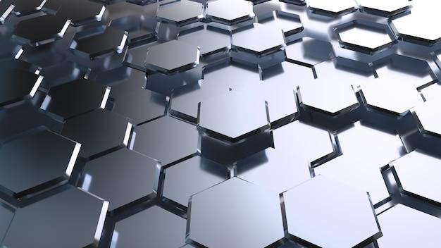 Streszczenie tło z metaliczną mozaiką sześciokątną.