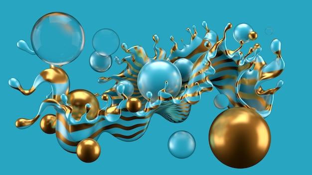 Streszczenie tło z pluskiem i piłką. ilustracja, renderowanie 3d.
