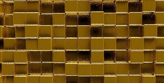 Streszczenie tło złote ściany z kostek, obraz panoramiczny