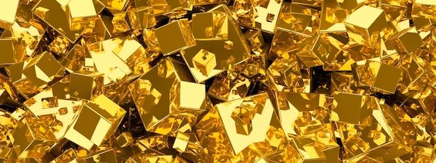 Streszczenie tło złoto metaliczne z kostek.