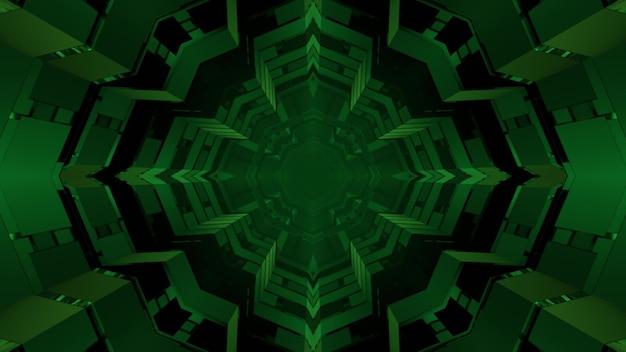 Streszczenie trójwymiarowa ilustracja zielonej gwiazdy w kształcie wzorów tworzących perspektywiczny dynamiczny tunel na czarnym tle