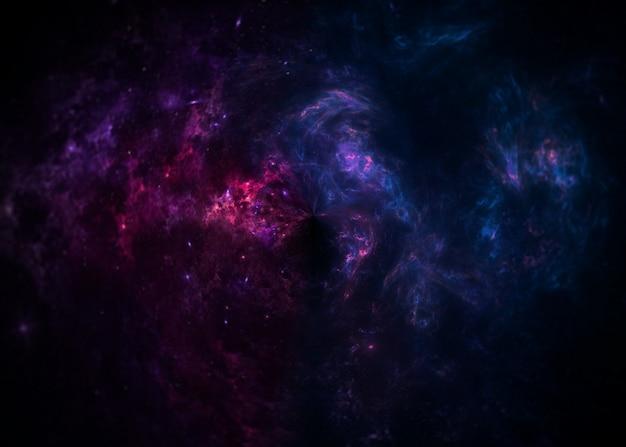Streszczenie tunel czasoprzestrzenny w przestrzeni z gazem i pyłem, galaktyką i gwiazdami zdjęcie premium, czarna dziura