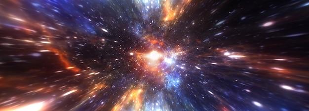 Streszczenie tunelu hiperprzestrzeni przez wir czasoprzestrzeni. ilustracja 3d międzygwiezdna podróż sci-fi przez tunel czasoprzestrzenny w nadprzestrzeni. renderowanie 3d skok prędkości teleportacji w banerze panoramy cyberprzestrzeni.