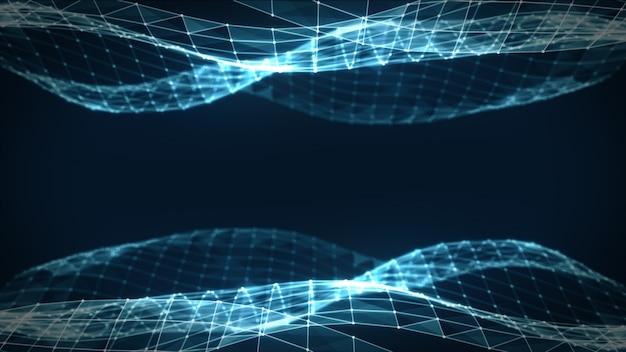 Streszczenie wielokątne low poly ciemne tło z łączenie kropek i linii. struktura połączeń. nauka. futurystyczne tło wielokąta. trójkątny. tapeta. biznesowa 3d ilustracja