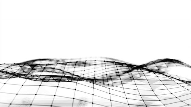 Streszczenie wielokątne miejsca low poly białe tło z łączenie kropek i linii. struktura połączeń. nauka. futurystyczne tło wielokąta. trójkątny. tapeta. biznesowa 3d ilustracja