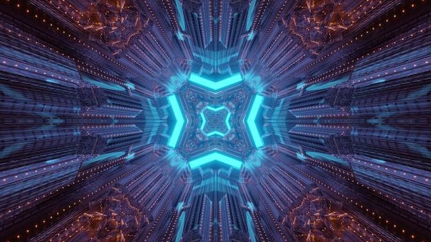 Streszczenie wizualne geometryczne tło tunelu science fiction z błyszczącymi niebieskimi neonowymi ramkami i odbiciami światła