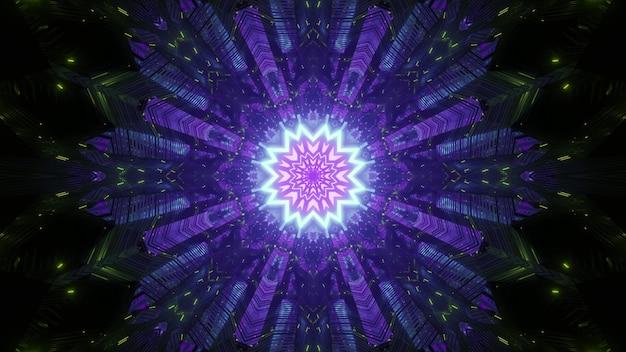 Streszczenie wizualne tło ze świecącym neonowym fioletowym geometrycznym kwiatem z symetrycznymi migającymi promieniami i cząstkami światła w ciemności