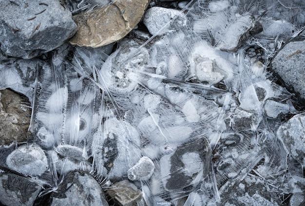 Streszczenie wyświetlania tekstur lodu. w canmore, alberta, kanada
