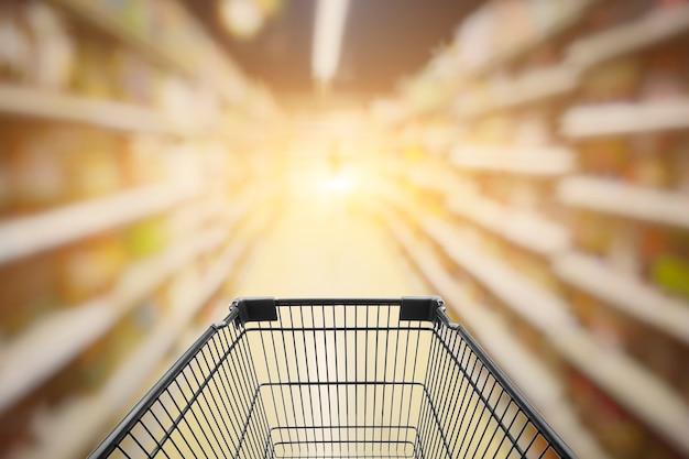 Streszczenie zamazany obraz sklep z wózek w domu towarowym bokeh tle