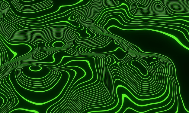 Streszczenie zielone linie topograficzne konturów. ilustracja 3d.