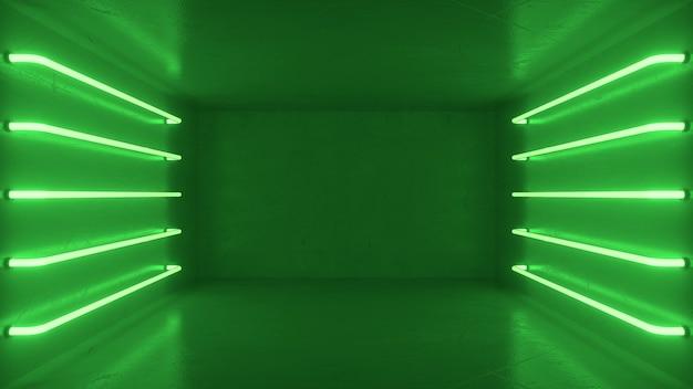 Streszczenie zielone wnętrze pokoju z zielonymi świecącymi neonami, świetlówki.