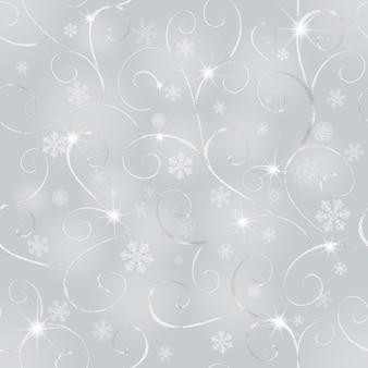 Streszczenie zima szary bezszwowe tło ze srebrnym orientalnym wzorem i białe płatki śniegu koncepcja szczęśliwego nowego roku i wesołych świąt