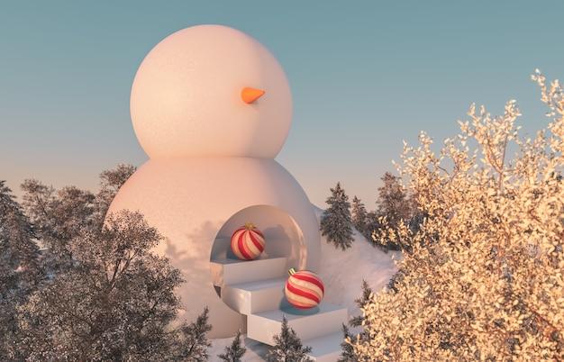 Streszczenie zimowa scena lasu. scena świąt bożego narodzenia