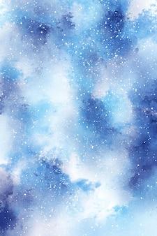 Streszczenie zimowe tło akwarela, cyfrowy papier niebieski