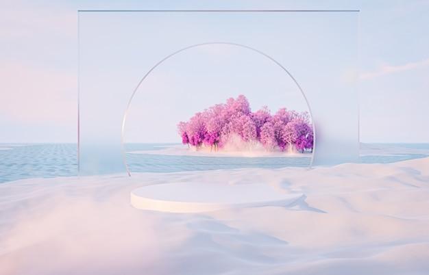 Streszczenie zimowy krajobraz bożego narodzenia tła sceny ze stojakiem na produkt