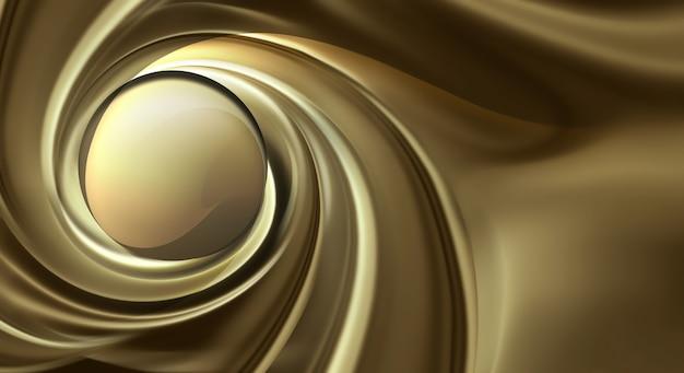 Streszczenie złote tło z gładkimi falistymi liniami d design