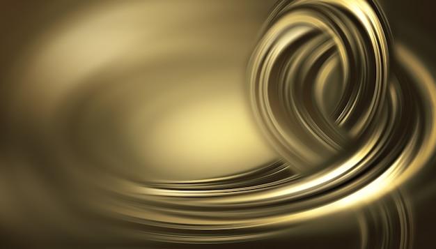 Streszczenie złote tło z gładkimi falistymi liniami