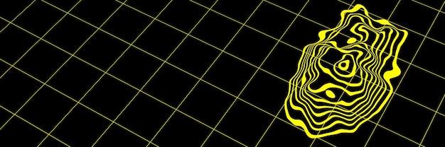 Streszczenie żółte linie topograficzne konturów. ilustracja 3d.