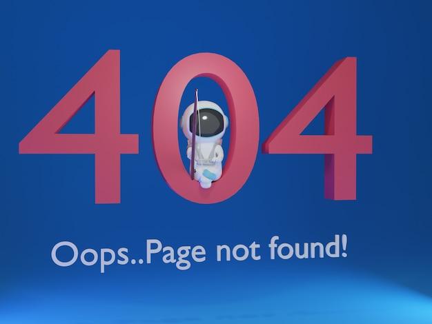 Strona 3d 404 z astronautą