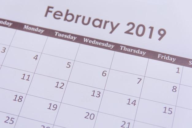 Strona kalendarza lutego 2019 w tle
